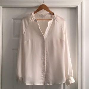 Lauren Conrad XL White Long Sleeve Blouse